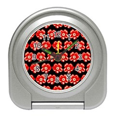 Red  Flower Pattern On Brown Travel Alarm Clocks