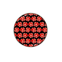 Red  Flower Pattern On Brown Hat Clip Ball Marker (10 pack)