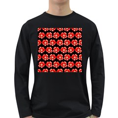 Red  Flower Pattern On Brown Long Sleeve Dark T-Shirts