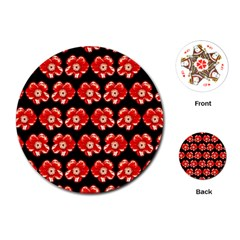 Red  Flower Pattern On Brown Playing Cards (Round)