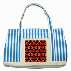 Red  Flower Pattern On Brown Striped Blue Tote Bag