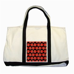 Red  Flower Pattern On Brown Two Tone Tote Bag