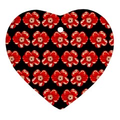 Red  Flower Pattern On Brown Heart Ornament (2 Sides)