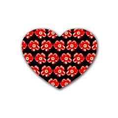 Red  Flower Pattern On Brown Heart Coaster (4 pack)