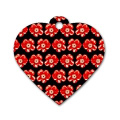 Red  Flower Pattern On Brown Dog Tag Heart (One Side)