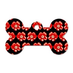 Red  Flower Pattern On Brown Dog Tag Bone (Two Sides)