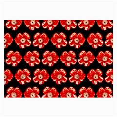 Red  Flower Pattern On Brown Large Glasses Cloth