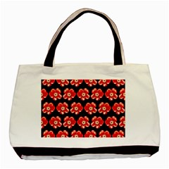 Red  Flower Pattern On Brown Basic Tote Bag (Two Sides)