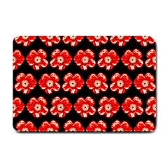 Red  Flower Pattern On Brown Small Doormat