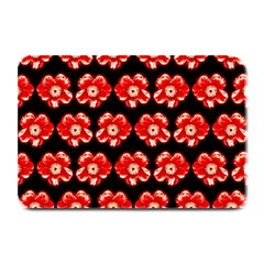 Red  Flower Pattern On Brown Plate Mats