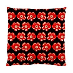 Red  Flower Pattern On Brown Standard Cushion Case (One Side)