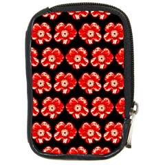 Red  Flower Pattern On Brown Compact Camera Cases