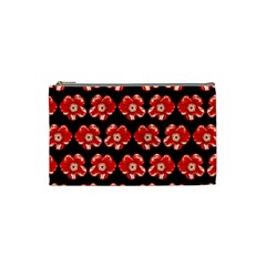 Red  Flower Pattern On Brown Cosmetic Bag (Small)