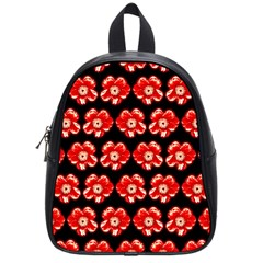 Red  Flower Pattern On Brown School Bags (Small)