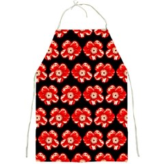 Red  Flower Pattern On Brown Full Print Aprons