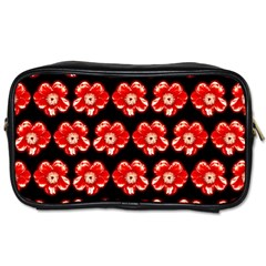 Red  Flower Pattern On Brown Toiletries Bags 2-Side
