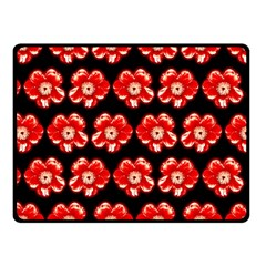 Red  Flower Pattern On Brown Fleece Blanket (Small)