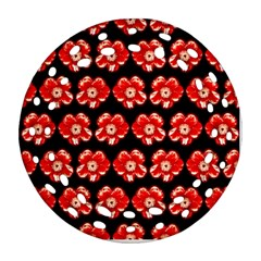 Red  Flower Pattern On Brown Round Filigree Ornament (2Side)