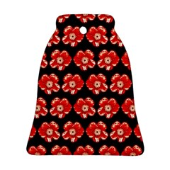 Red  Flower Pattern On Brown Bell Ornament (2 Sides)