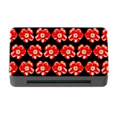 Red  Flower Pattern On Brown Memory Card Reader With Cf