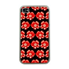 Red  Flower Pattern On Brown Apple iPhone 4 Case (Clear)
