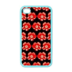 Red  Flower Pattern On Brown Apple iPhone 4 Case (Color)