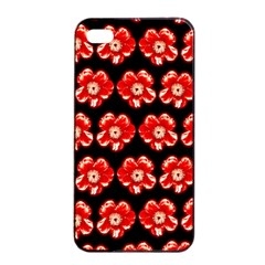 Red  Flower Pattern On Brown Apple iPhone 4/4s Seamless Case (Black)