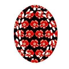 Red  Flower Pattern On Brown Oval Filigree Ornament (2-Side)