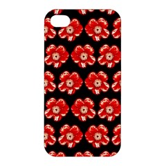 Red  Flower Pattern On Brown Apple iPhone 4/4S Hardshell Case