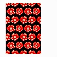Red  Flower Pattern On Brown Small Garden Flag (Two Sides)
