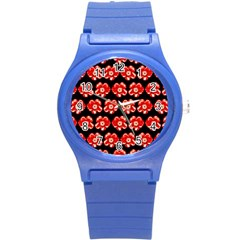 Red  Flower Pattern On Brown Round Plastic Sport Watch (S)