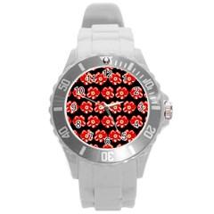 Red  Flower Pattern On Brown Round Plastic Sport Watch (L)