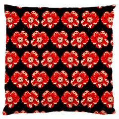 Red  Flower Pattern On Brown Large Cushion Case (Two Sides)