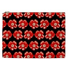 Red  Flower Pattern On Brown Cosmetic Bag (XXL)