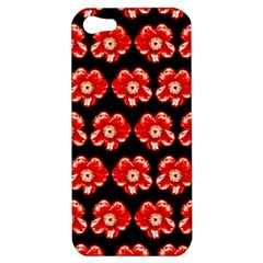 Red  Flower Pattern On Brown Apple iPhone 5 Hardshell Case