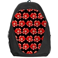 Red  Flower Pattern On Brown Backpack Bag
