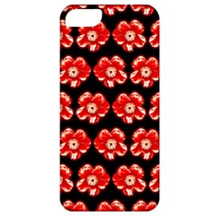 Red  Flower Pattern On Brown Apple iPhone 5 Classic Hardshell Case