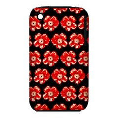 Red  Flower Pattern On Brown iPhone 3S/3GS