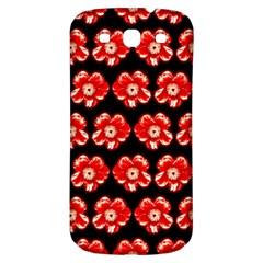 Red  Flower Pattern On Brown Samsung Galaxy S3 S III Classic Hardshell Back Case