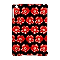 Red  Flower Pattern On Brown Apple iPad Mini Hardshell Case (Compatible with Smart Cover)