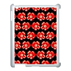 Red  Flower Pattern On Brown Apple iPad 3/4 Case (White)