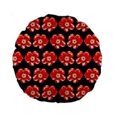 Red  Flower Pattern On Brown Standard 15  Premium Round Cushions