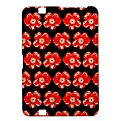 Red  Flower Pattern On Brown Kindle Fire HD 8.9