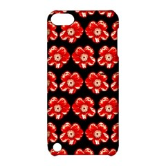 Red  Flower Pattern On Brown Apple iPod Touch 5 Hardshell Case with Stand