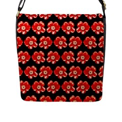 Red  Flower Pattern On Brown Flap Messenger Bag (L)