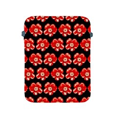 Red  Flower Pattern On Brown Apple iPad 2/3/4 Protective Soft Cases