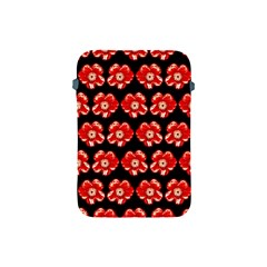 Red  Flower Pattern On Brown Apple iPad Mini Protective Soft Cases