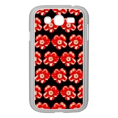 Red  Flower Pattern On Brown Samsung Galaxy Grand DUOS I9082 Case (White)