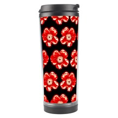 Red  Flower Pattern On Brown Travel Tumbler