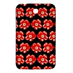 Red  Flower Pattern On Brown Samsung Galaxy Tab 3 (7 ) P3200 Hardshell Case